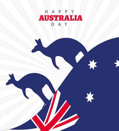 happy australia day lettering with flag and kangaroos silhouette vector illustration design