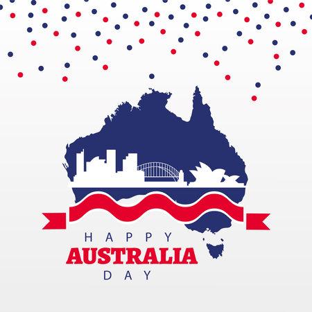 happy australia day lettering with landmarks in map vector illustration design