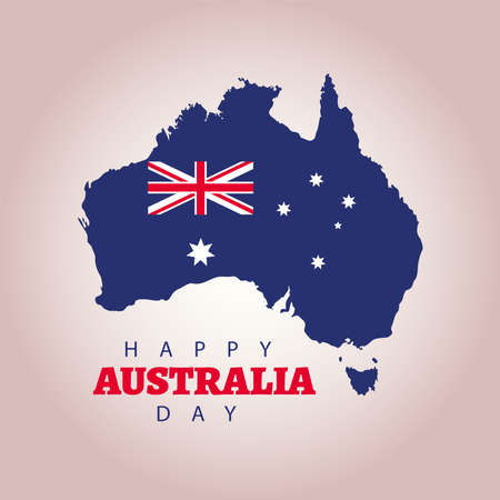 happy australia day lettering with flag in map vector illustration design  イラスト・ベクター素材