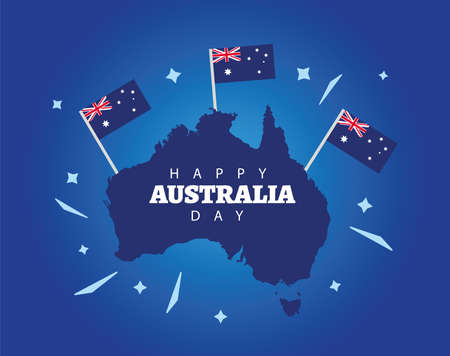 happy australia day lettering with flags in map vector illustration design  イラスト・ベクター素材