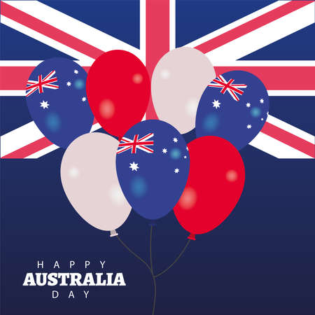 happy australia day lettering with flag and balloons helium vector illustration design