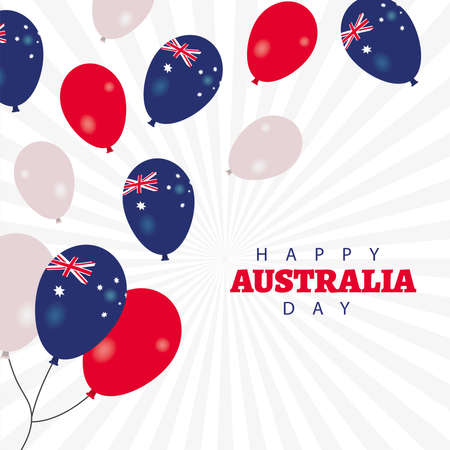 happy australia day lettering with balloons helium floating vector illustration design