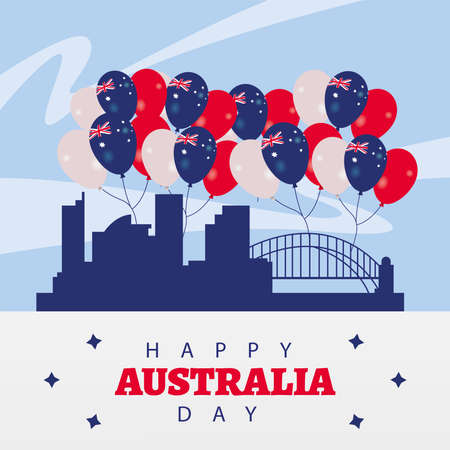 happy australia day lettering with flags in balloons helium and landmarks vector illustration design