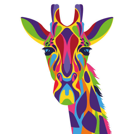 giraffe wild life technicolor icon vector illustration design