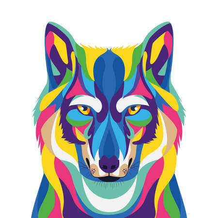 wolf wild life technicolor icon vector illustration design