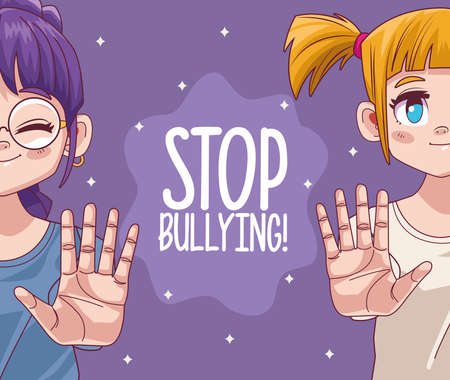 cute little girls couple with stop bullying lettering comic manga characters vector illustration design