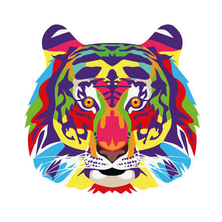 tiger wild life technicolor icon vector illustration design