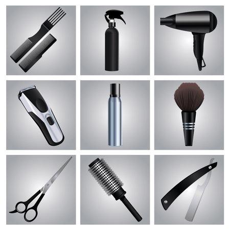 bundle of nine hairdressing tools equipment set icons vector illustration design