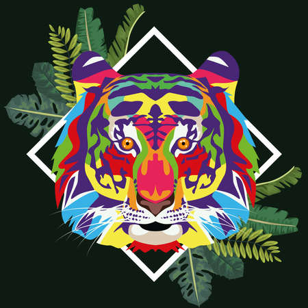 tiger wild life technicolor with leaves frame vector illustration design