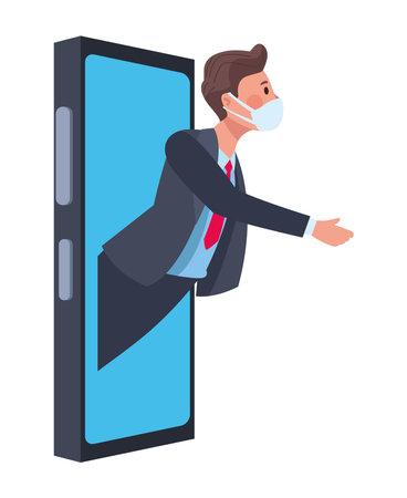 businessman wearing medical mask in smartphone character vector illustration design