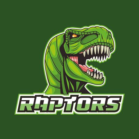 tyrannosaurus rex animal wild head with raptors lettering vector illustration design