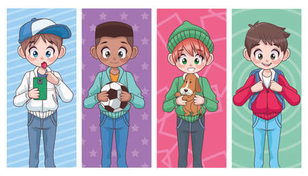 group of four young interracial teenagers boys kids characters vector illustration design