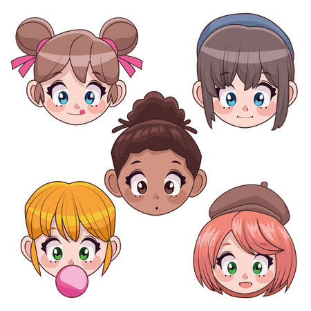 group of five interracial teenagers girls anime heads characters vector illustration design