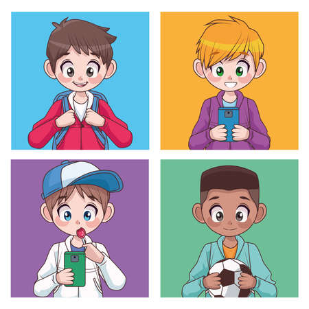 group of four interracial teenagers boys kids characters vector illustration design