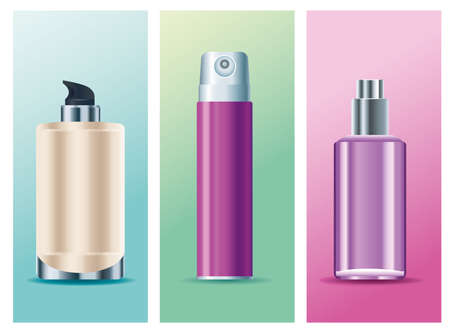 set of three skin care spray bottles products icons vector illustration design
