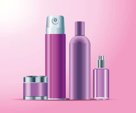 set of four skin care bottles purple color products icons vector illustration design