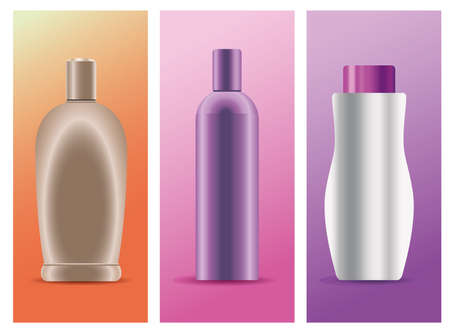 set of three skin care bottles products icons vector illustration design