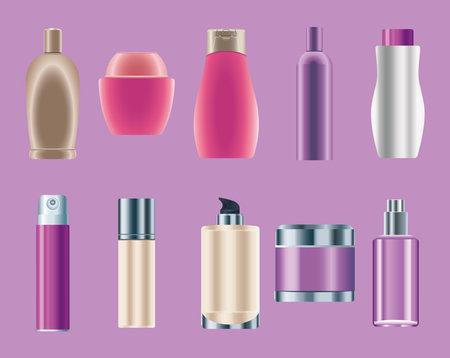 set of ten skin care bottles products icons vector illustration design