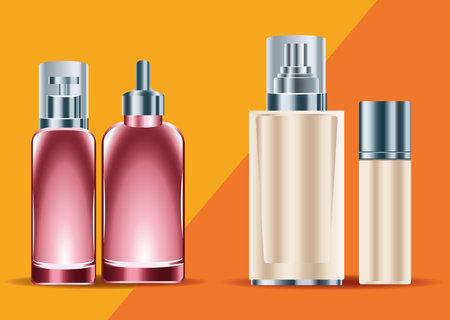 four skin care bottles products set icons vector illustration design