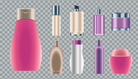 set of nine skin care bottles products icons vector illustration design