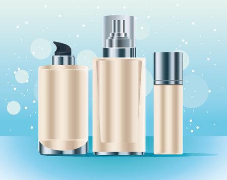 set of three skin care bottles cream color products icons vector illustration design Ilustração