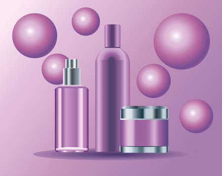 set of three skin care bottles purple color products icons vector illustration design