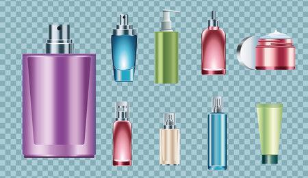 bundle of nine skin care bottles icons vector illustration design Ilustração
