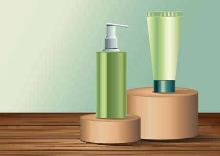 two green skin care bottle and tube products in golden stages vector illustration design