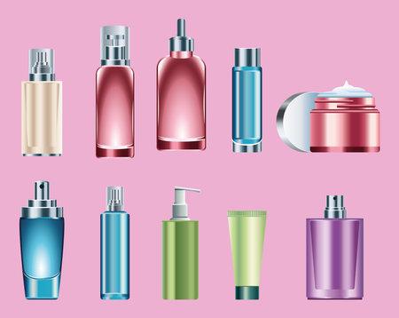 bundle of ten skin care bottles products vector illustration design