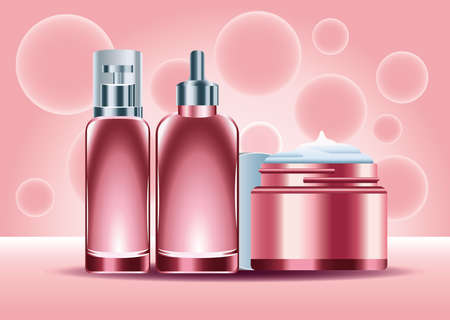 three skin care bottles products color red set icons vector illustration design