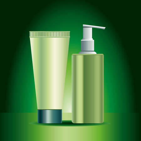 two green skin care bottle and tube products icons vector illustration design Ilustração