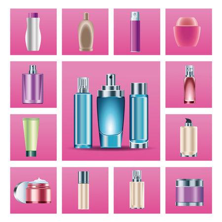 bundle of fifteen skin care bottles products icons vector illustration design Ilustração