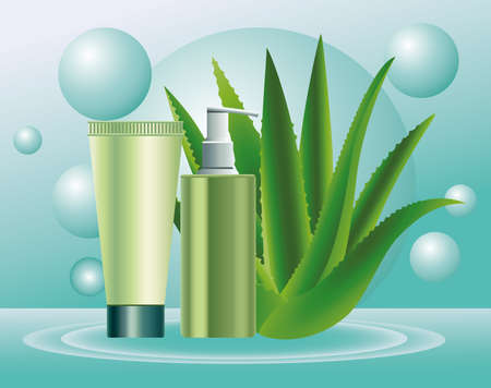two green skin care bottle and tube products with aloe plant vector illustration design