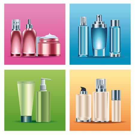 bundle of eleven skin care bottles products vector illustration design