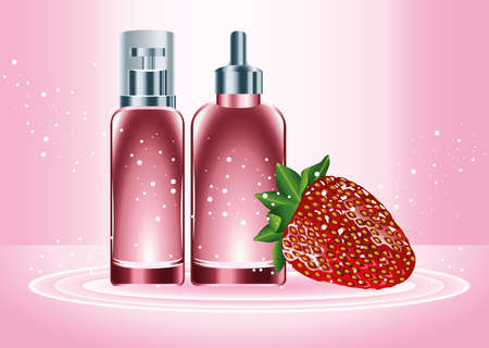 two red skin care bottles products with strawberry vector illustration design