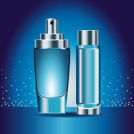 two blue skin care bottles products icons vector illustration design Ilustração