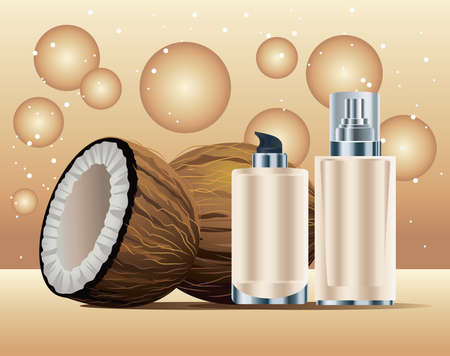skin care bottles cream color products with coconuts vector illustration design