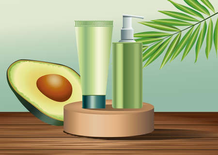 two green skin care bottle and tube products in golden stage with avocado vector illustration design