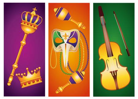 bundle of five mardi gras carnival celebration set icons vector illustration design