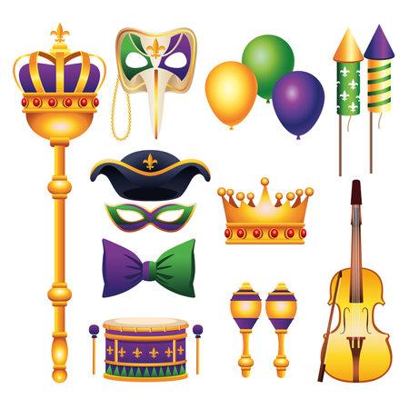 bundle of eleven mardi gras carnival celebration set icons vector illustration design