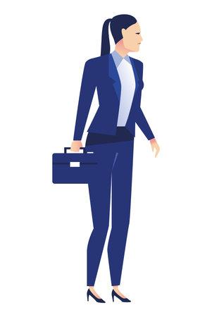 elegant businesswoman worker standing with portfolio character vector illustration design