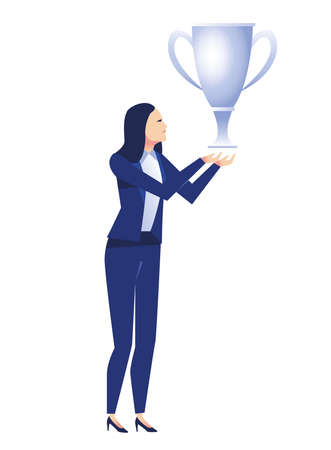 elegant businesswoman worker with trophy cup character vector illustration design