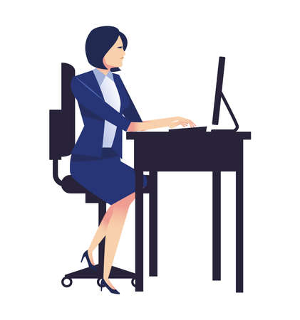 elegant businesswoman working in desktop in the workplace vector illustration design
