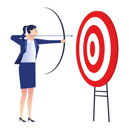 elegant businesswoman worker with target and arrow vector illustration design