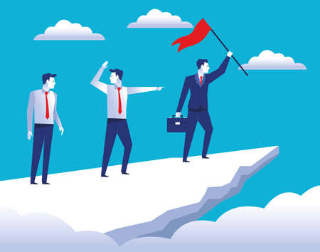 three elegant businessmen workers in the top mountain with success flag vector illustration design