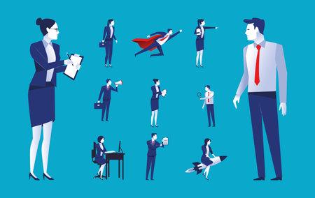 bundle of eleven elegant business people workers avatars characters vector illustration design