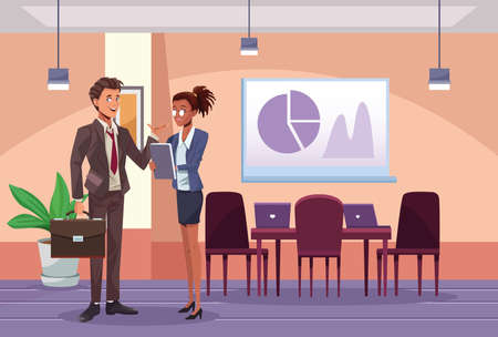 interracial business couple workers in the work place scene vector illustration design
