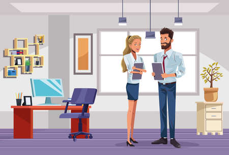 business couple workers in the work place scene vector illustration design