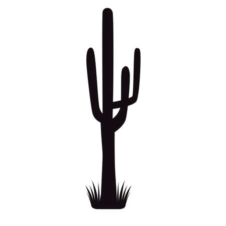 cactus plant with grass silhouette icon vector illustration design