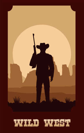 wild west lettering in poster with cowboy and rifle vector illustration design Çizim
